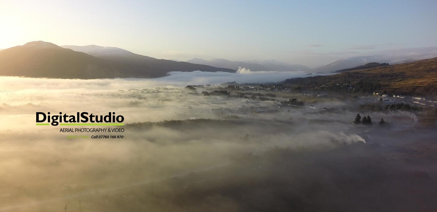 Mid winter temperature inversion, Fort William - from 90 metres above the ground